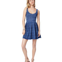 Aeropostale Womens Printed Strap-Back Scoop Dress - Blue,