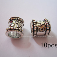 Free Shipping 10Pcs/Lot  tibetan silver hair dread dreadlock beads cuff clip approx 9.2mm hole