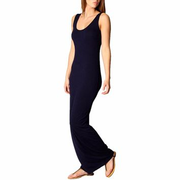 New Womens Lady Bodycon Sleeveless Casual Summer Cotton Maxi Long Dress Sundress Yrd - Beauty Ticks