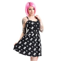 "Women's ""Skull X Bones"" Smocked Back Dress by Jawbreaker (Black)"