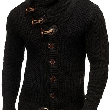 Cardigan Men Casual Slim Sweaters With Horns Buckle And Thick Hedging Turtleneck