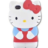 Cool2day New Iphone 4/4s Protective Case Red Blue Kitty Skin Cover