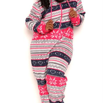 Plus Size Plush Onesuit with Fair Isle Print and Hood