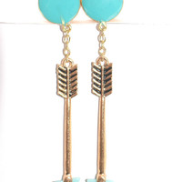 Teal and Gold Arrow Dangle Plugs / 6g, 4g, 2g, 0g, 00g, 1/2 inch / Gold Arrow Dangle Gauges / Gold Plugs / Boho Earrings