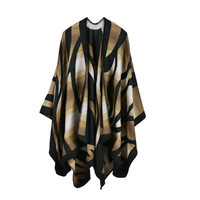 Hot Popular Women Gradient Color Split Shawl Scarf Cape _ 10106