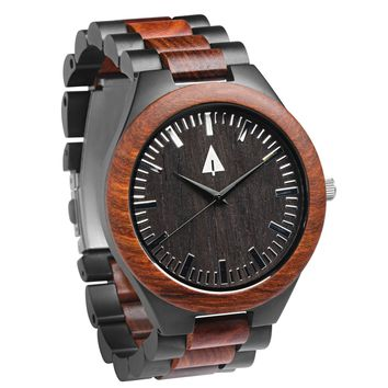 Stainless Steel Wood Watch // Black Jasper