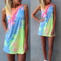Women Tie Dye Sleeveless Party Dress Evening Cocktail Casual Mini Dress