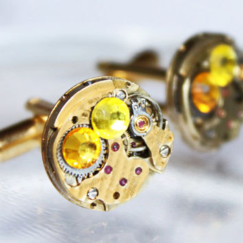 Rare BULOVA Steampunk Cufflinks - Damaskeening Gold Vintage Watch Movement & Swarovski Crystal - Men Steampunk Cufflinks Wedding Gift