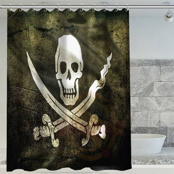 "Jolly Rodger Pirate Flag Shower Curtain! 60"" x 72"""