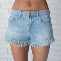 What The Fray High Waist Shorts In Light Blue