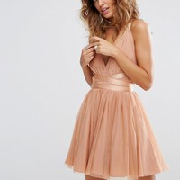 ASOS PREMIUM Tulle Mini Prom Dress With Ribbon Ties at asos.com