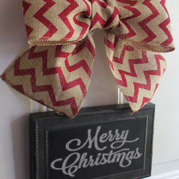 Christmas Wreath Alternative CHALKBOARD Metal Sign Hanging Burlap Bow Classic Red Chevron ribbon Blackboard - Write your own custom greeting