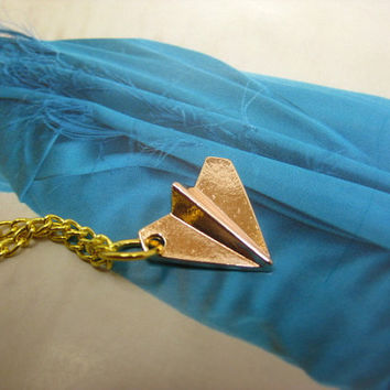 One Direction Harry Styles Paper Plane golden tone Necklace Airplane 1D Directioners