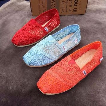 TOMS Natural Crochet Classics Flats Fashion hollow Summer Sexy Loose Shoes Red-1