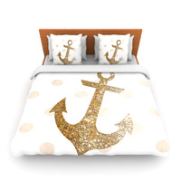 "Nika Martinez ""Glitter Anchor"" Gold Sparkles Queen Fleece Duvet Cover - Outlet"