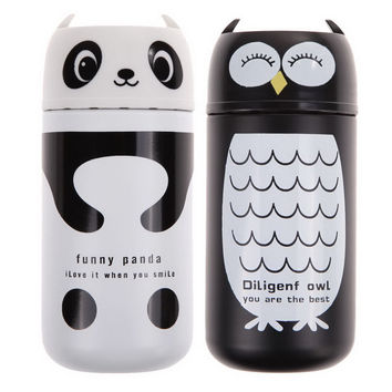 1PC Design Portable Cute Panda&Owl Thermos 220ML Stainless Steel Winter Vacuum Cup White / Black
