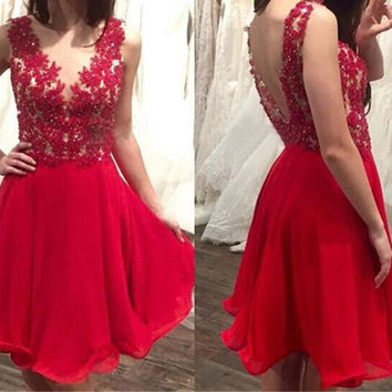 Red Short Lace Applique Homecoming Dress