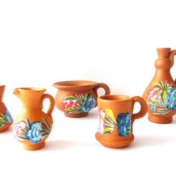 Collection of 5 Pottery Vintage Miniatures - Hand Painted Ceramic