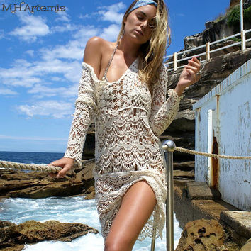 Boho Chic Elegant White Beach Crochet Knitted Dress Beachwear Vacation Hollow Out long sleeve lace Mini Dress 2017