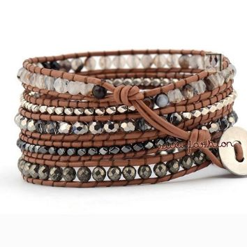 5 Wrap Natural Bracelet With Gemstones-In Stock