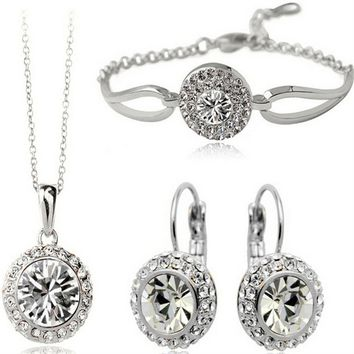 3Pcs Crystal Jewelry Set For Bridal Gift Fashion Jewelry Silver Plated Full Rhinestone Necklace Bracelet Earrings Set