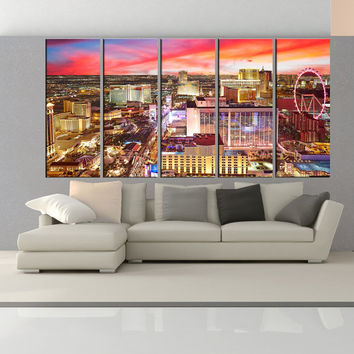 Las vegas Skyline canvas wall art, Extra Large wll art print las vegas Wall Art photo Print , city skyline modern wall art  no:uc68