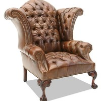 fine home furnishings Tufted Brown Leather Wing Chair
