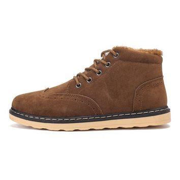Men Plush Lining Artificial Suede Casual Boots
