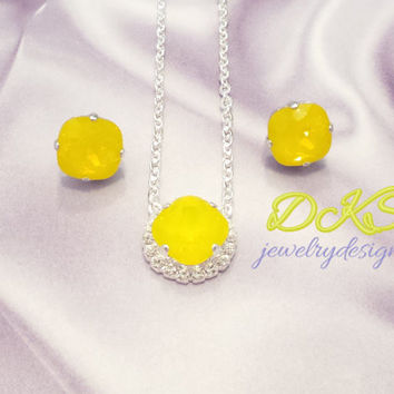 NEW YELLOW OPAL, swarovski pendant, halo diamond crystal crystal, 12mm square, bridal, stunning, stud earrings, dksjewelrydesigns