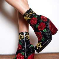 'SIN IS IN' Hand-Sequinned Ankle Boots