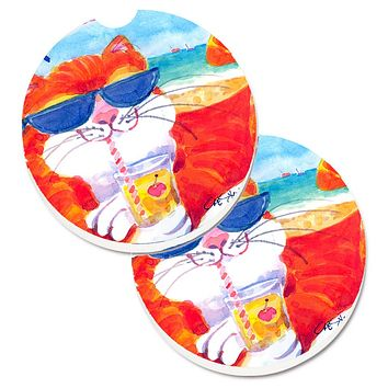 Cool Cat with Sunglasses at the beach Set of 2 Cup Holder Car Coasters 6118CARC
