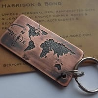 World Map Keyring,Copper Key Ring,Travel Key Chain,Adventure,Key Chain,Key Fob,Personalised Gift,Fathers Day,Gifts