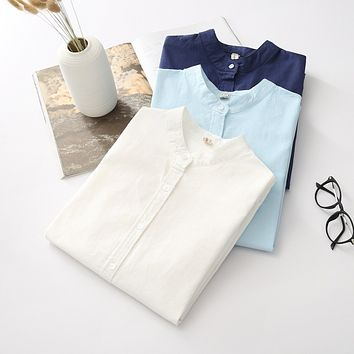 EYM 2017 Brand New Arrival Women's Shirt Casual Cotton Stand Collar Solid Color White Long Sleeve Blouses Simple Style Lady Tops