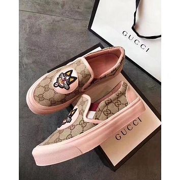 GUCCI Old School Casual Embroidery Dog Pattern Flat Sneakers Sport Shoes Pink I/A