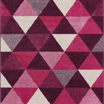 2901 Purple Geometric Design Contemporary Area Rugs