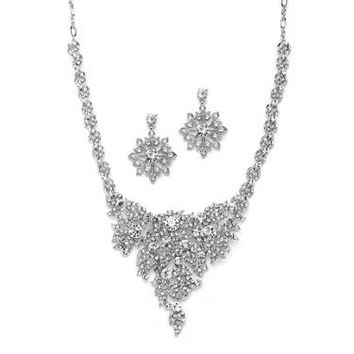 Silver and Crystal Statement Necklace Set for Weddings 4184S-S