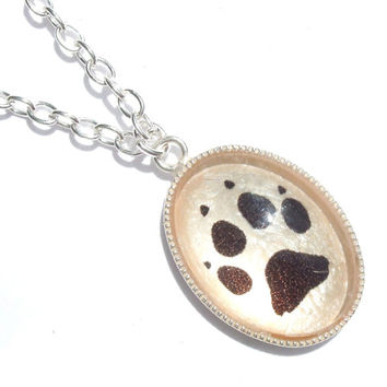 """Paw Print, Wolf Track, Silver Plated Necklace 18"""" Curb Chain, snow dog, Sled Dog, Dog jewellery, Breed Specific, colour choice available"""