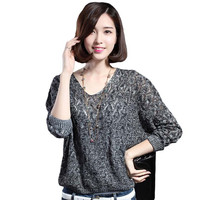 2016 New Autumn And Winter Long-Sleeved V-Neck Sweater Bottoming Female Loose Twist Hollow Bat Sleeve Sweater