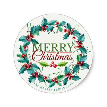 Green Red Watercolor Holly Wreath Merry Christmas Classic Round Sticker