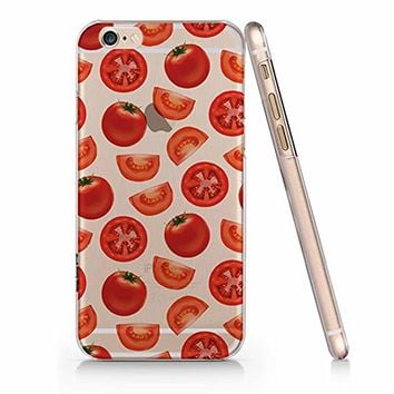 Cute Tomato Pattern Clear Transparent Plastic Phone Case for iphone Apple Phone SUPERTRAMPshop (iphone 6)
