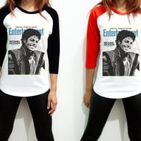 Unisex - Michael Jackson Entertainment MJ King of Pop Billboard Music Men Women Long Sleeve Baseball Shirt Tshirt Jersey
