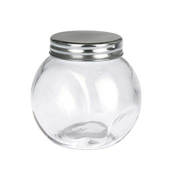 Clear Glass Candy Jar with Silver Lid, 3-Inch