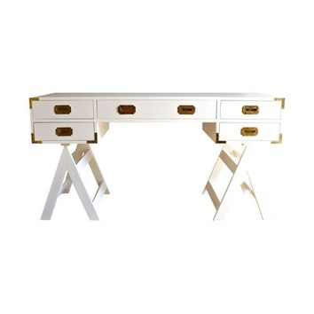 Pre-owned Custom Made Campaign Desk by New England Artisan