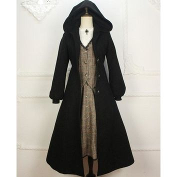 Custom Tailored ~ Vintage Women's Hooded Long Wool Coat Gothic Trench Coat by Miss Point
