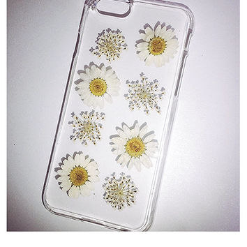 Pressed Flower Phone Case, iPhone 6 Case, iPhone 6 Plus Case, iPhone 5s Case, iPhone 5 Case, iPhone 5c Case, Clear Real Flower Case, Daisy