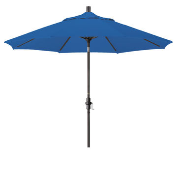 9 Foot Sunbrella 4A Fabric Aluminum Crank Lift Collar Tilt Patio Umbrella with Bronze Pole