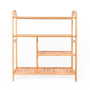 4-layer Portable Bamboo Board Boot Shoe Rack Wood Color