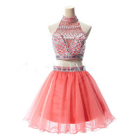 Two Pieces Homecoming Dress Halter Style