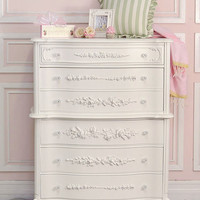 8440 - Stunning White 5 Drawer Highboy Dresser with Roses - The Bella Cottage