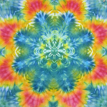 tie dye tapestry wall hanging trippy mandala yellow orange red turquoise